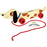 Personalised Wooden Pull Along Sausage Dog