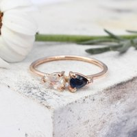 Popi 9ct Gold Double Pear Moonstone And Sapphire Ring, Gold