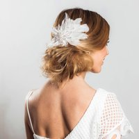 Seraphina Embellished Feather Headpiece, White/Silver/Gold
