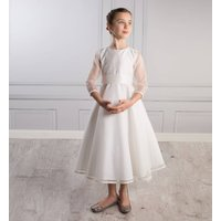 Sophia Dress Silk Organza, Ivory/White/Pale Pink