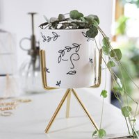 Face Print Mini Planter And Stand, H14cm