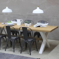 Kings Cross Oak Dining Table With X Frame, Black/White/Grey