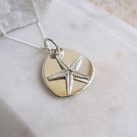 Silver Lozenge With Silver Starfish Charm Necklace, Silver