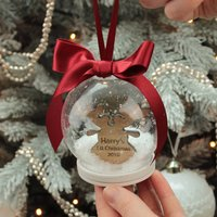 Personalised Reindeer 1st Christmas Snow Globe Bauble