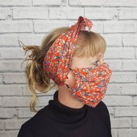 Liberty Print Top Knot Headscarf And Face Mask Set