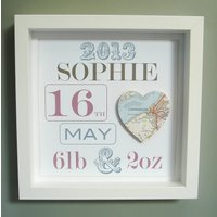Personalised New Baby Girl's Map Picture| New Baby Gift, White/Black