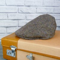 Harris Tweed Flat Cap, Green/Beige/Black