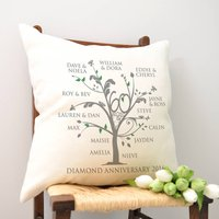 Personalised Diamond Anniversary Family Tree Cushion