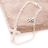 Sterling Silver Bracelet With Cross And Clover Leaf, Silver
