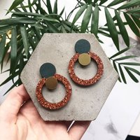 Burnt Orange Statement Circle Drop Earrings