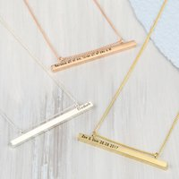 Personalised Shiny Horizontal Bar And Chain Necklace, Gold/Silver/Rose Gold