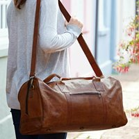 Personalised Leather Weekend Travel Holdall