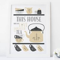 Personalised Scandi Style Family Tea Print, Sand/Blue/Green