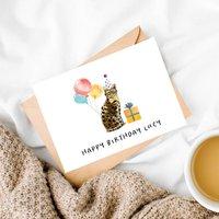 Personalised Bengal Cat Birthday Card
