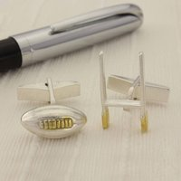 Rugby Silver And Gold Cufflinks, Silver