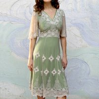 Thirties Style Dress In Ivory And Green Lace