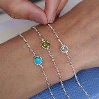 Sterling Silver Birthstone Bracelet, Silver