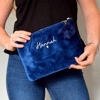Embroidered Velvet Make Up Bag With Pom Pom