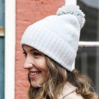 Soft Knit Bobble Hat In Grey