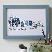 Personalised 'Our Family' Owl Print