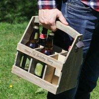 Personalised Natural Wooden Six Bottle Beer Holder