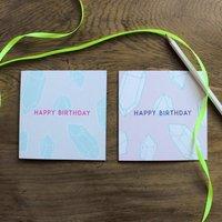 Happy Birthday Crystal Card, Pink/Grey