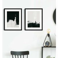 Black And White Abstract Prints Set Of Two