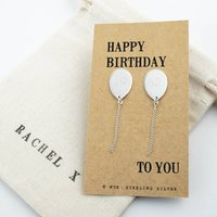 Personalised Silver Birthday Balloon Earrings, Silver