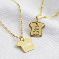 Personalised Gold Sterling Silver Bread Charm Necklace, Silver