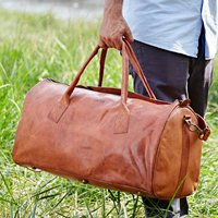 Personalised Leather Duffle Style Gym Bag