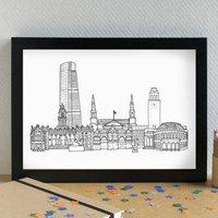 Leeds Landmarks Skyline Art Print Unframed