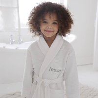 Personalised Childrens White Waffle Robe