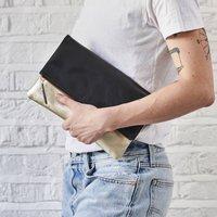 Secret Message Leather Fold Over Clutch Bag