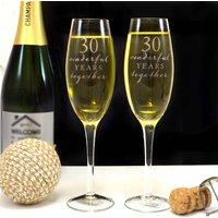 Pearl Wedding Anniversary Champagne Glasses