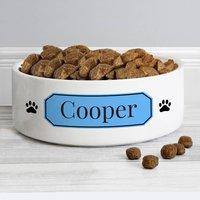 Personalised Blue Plaque Ceramic Pet Bowl