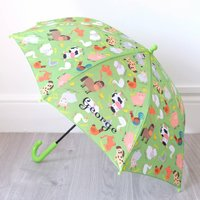 Personalised Green 'Farm Animals' Umbrella