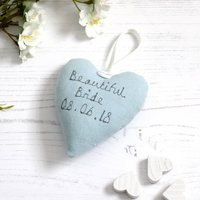 Personalised Heart Bride To Be Gift, Cream/Red/Blue