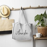 Personalised Grey Jersey Slouch Bag