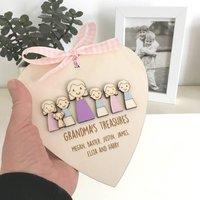 Personalised Nanny Or Grandmas Keepsake Heart, White/Baby Pink/Pink