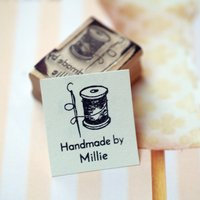 Handmade By Crafter Personalised Rubber Stamp