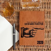 Leather Diary 2020 Handmade Gift With Letterpress, Chocolate/Russet/Red