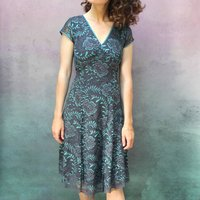 Two Toned Teal And Gunmetal Baroque Lace Dress
