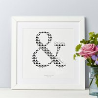 Personalised Couple Wedding Print, Navy/Light Blue/Blue