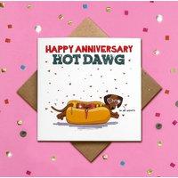 Glitter Dachshund Happy Anniversary Card