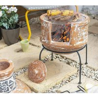 Two Piece Clay Terracotta Chiminea With Cooking Grill