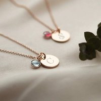 Personalised Tula Birthstone Necklace, Silver/Rose Gold/Rose
