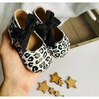 Leopard Print Leather Baby Shoes With Keepsake Box