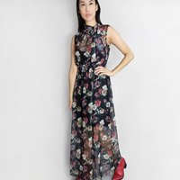 Puglia Floral Maxi Dress Black