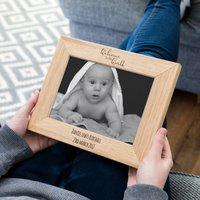 Personalised New Baby Oak Photo Frame