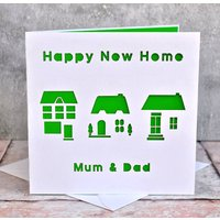 Personalised Laser Cut New Home Card, Red/Lilac/Pink